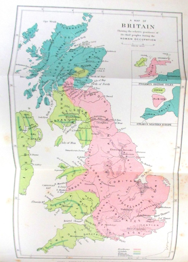 Front matter in J. Rhys, Celtic Britain (London : SPCK, 1908), showing a map of Britain at the time of the Roman occupation.