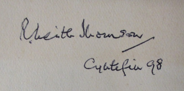 R.L. Thomson's signature as inscribed in one of his books and the date of purchase. Note the charming use of the Welsh 'Cyntefin', meaning the beginning of summer.