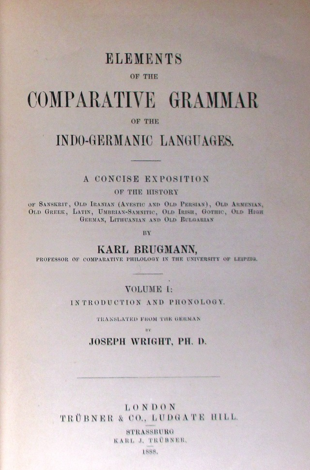 R.L. Thomson's copy of Elements of the comparative grammar of the Indo-Germanic languages which he used whilst a student at the Queen's College, Oxford.