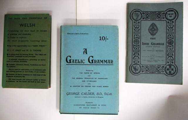 A selection of grammar books in Welsh, Scottish Gaelic and Irish.