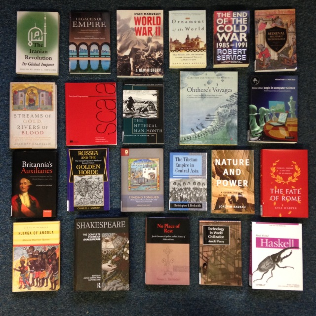 A selection of books bought with Gordon Jones's donation